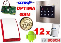 ROPAM zestaw OptimaGSM-PS z GSM, SMS, MMS, CLIP, email, Android + 12x BOSCH, TPR-1F